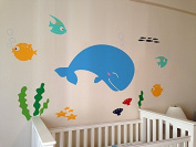 "Pop Decors ""Whale Decal Fish"" Nursery Wall Stickers for Kids Playroom"