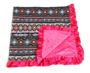 Baby Minky Receiving Blanket - 80cm x 80cm - Cotton Polyester - Hot Pink Aztec