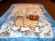 Teddy Bear on Sailboat with Fish Jumping out of Water Korean Style Plush Mink Soft Childs Boy Blanket