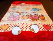 Little Ducks Playing in a Train Korean Style Plush Mink Soft Childs Boy Blanket