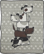 Green 3 Stacked Junior Throw, Dogs