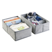 mDesign Fabric Baby Nursery Closet Organiser for Clothes, Towels, Bibs, Socks, Shoes - Set of 2, 8 Compartments, Grey