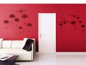 """Pop Decors """"Paratrooper/Air Planes"""" Beautiful Wall Stickers for Kids Rooms"""