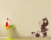 "Pop Decors ""A Girl Blows Away Dandelions"" Beautiful Wall Stickers for Kids Rooms"