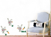 "Pop Decors ""Bunnies Love Carrots"" Beautiful Wall Stickers for Kids Rooms"