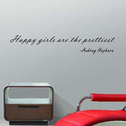 "Pop Decors ""Happy girls are the prettiest-Audrey Hepburn"" Wall Stickers"