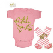 G & G - Cute Baby Girls 3pc 1st Birthday Girl Outfits Pink and Gold