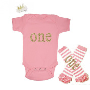 G & G - Cute Baby Girls 3pc 1st Birthday Outfits Pink and Gold