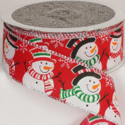 PACK OF 2 Cherry Red Snowmen Wired Ribbon 3.8cm x 40 yards
