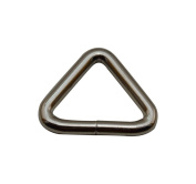 Amanaote Silvery 2.5cm Inner Lenght of Base Line Equilateral Triangle Buckle Triangle Ring for Strap Pack of 6