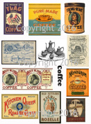 Assorted Vintage Ephemera Coffee Label Images #2 on Collage Sheet for Photo Art, Scrapbooking, Collage, Decoupage