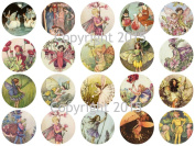 Assorted Vintage Fairy Images on 4.4cm Circles Collage Sheet