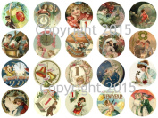 Vintage Victorian New Years 4.4cm Circles Collage Sheet