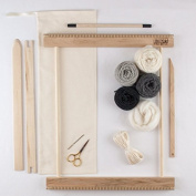 BEGINNERS FRAME LOOM WEAVING KIT / EVERYTHING YOU NEED TO MAKE YOUR OWN WOVEN WALL HANGING / grey