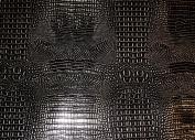 Black Silver Glossy 2 Tone Gator Heavy Duty PVC Vinyl Fabric Sold By The Yard
