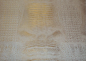 White Gold Glossy 2 Tone Gator Heavy Duty PVC Vinyl Fabric Sold By The Yard
