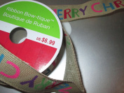 3.8cm x 7.6m beige basketweave ribbon with colourful (MERRY CHRISTMAS) letters painted on