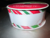 3.8cm . x 7.6m wired White Basketweave ribbon with red/white/green edge