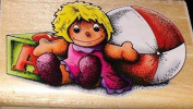 Toys Doll Ball Kids Children Wood Mounted Rubber Stamp