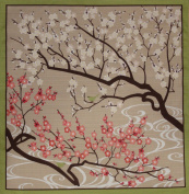 Furoshiki Wrapping Cloth Plum Blossoms and Birdies Motif Japanese Fabric 50cm