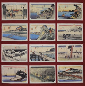 Furoshiki Wrapping Cloth Red Hiroshige Tokaido Collection Motif Japanese Fabric 50cm
