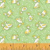 "1 Yard PreCut - ""Musical Ducks"" on Green Cotton Fabric - a Storybook Playtime Series (Great for Quilting, Sewing, Craft Projects, Throw Pillows & More) PreCut 1 Yard X 110cm"