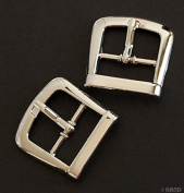 2392 Metal Polished Silver Tone Shoe Boots Handbag Belt Buckles 2.2cm with Slider Bar - Pack of 5 Pairs