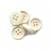 Packet of 5 x Cream Wood 25mm Round Buttons (4 Hole) - (HA10760) - Charming Beads