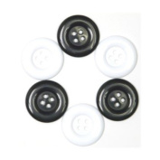 Bright, Glossy Plastic Buttons (34mm) Variety 6-pack
