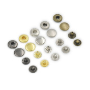 """100 Sets 12mm 1/2"""" Metal Snap Fastener Leather Craft Rapid Rivet Button Setting Sewing Mixed"""