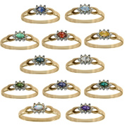 M.V. Jewels 10K Yellow Gold Diamond and Gemstone Ring with Choice of Centre Stone
