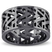 Versace 19.69 Abbigliamento Sportivo SRL Sterling Silver with Black Rhodium Plating Openwork Ring