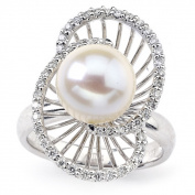 Diamonds for a Cure 14k White Gold Freshwater Pearl 1/3ct TDW Diamond Ring (9-10mm)