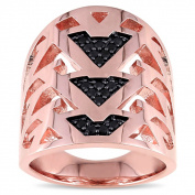 Versace 19.69 Abbigliamento Sportivo SRL 18k Rose Gold Plated Sterling Silver Black Sapphire Openwork Ring