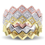 Versace 19.69 Abbigliamento Sportivo SRL 18k Pink and Yellow Gold Plated Sterling Silver White Sapphire Zig Zag Stackable Rings