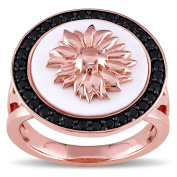 Versace 19.69 Abbigliamento Sportivo SRL 18k Rose Gold Plated Sterling Silver Agate and Black Sapphire Sunflower Cocktail Ring