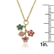 Frosted Flowers 14k Goldplated Pink Flower with Dotted Necklace