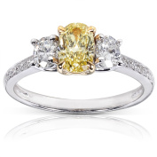 Annello 14k Gold 1 1/10ct TDW Certified Yellow and White Diamond Ring