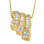 14k Yellow Gold 1 1/2ct TDW Princess and Baguette-cut Diamond Triple Curved Pendant