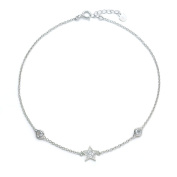 Blue Box Jewels Rhodium-plated Sterling Silver Cubic Zirconia Star and Round Disc Anklet