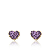 Molly Glitz 'Heart Of Jewels' 14k Goldplated Crystal Heart Stud Earring
