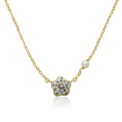 Molly Glitz Flowery Glitz 14k Goldplated and Crystal Flower Freshwater Pearl Chain Necklace