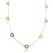 Molly and Emma 18k Gold Overlay Children's Enamel Heart Necklace