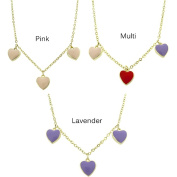Molly and Emma 14k Gold Overlay Children's Enamel Hearts Dangle Necklace