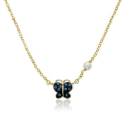 Molly Glitz Shine Bright 14k Goldplated and Crystal Butterfly Fresh Water Pearl Chain Necklace