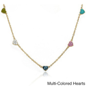Molly Glitz 14k Goldplated Children's Crystal Heart Station Necklace