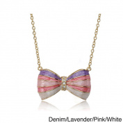 Little Miss Twin Stars 14k Goldplated Children's CZ and Enamel Bow Necklace
