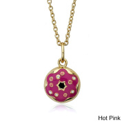 Little Miss Twin Stars 14k Gold-plated Hot Pink Enamel Donut Frosted with Sprinkles Pendant Necklace