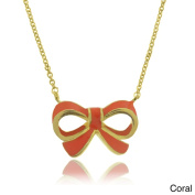 Molly and Emma 18k Gold Overlay Children's Enamel Bow Necklace