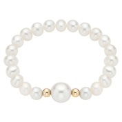 Pearlyta 14k Gold Bead Pearl Baby Stretch Bracelet with White Centre